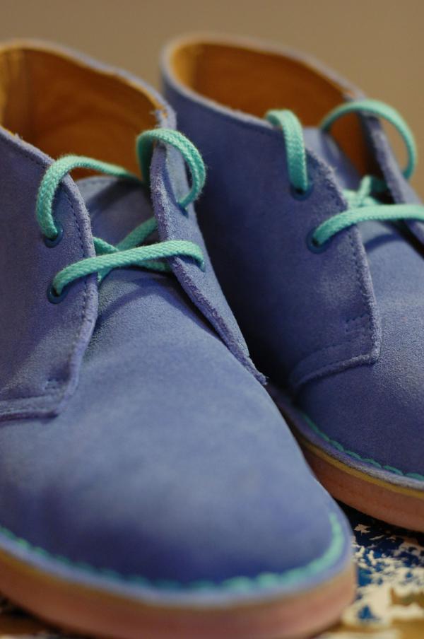 Pale blue suede shoes